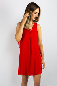 Red Dress with Chiffon Overlay