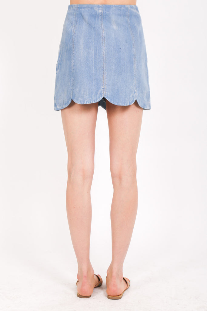 Scalloped Light Denim Skirt
