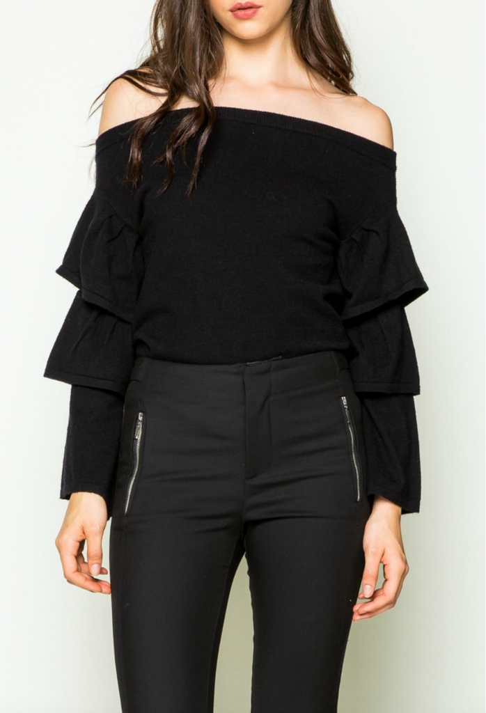 Off the Shoulder Ruffle Top in Black - DI