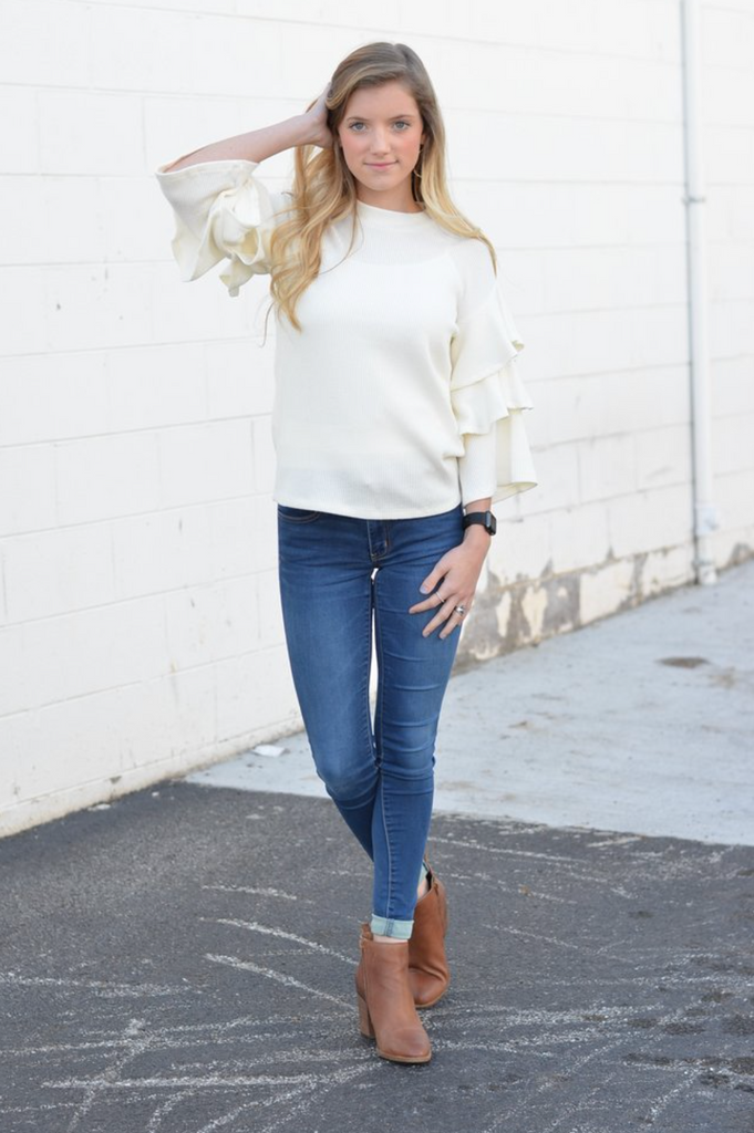 Ivory Ruffle Sleeved Top - DI