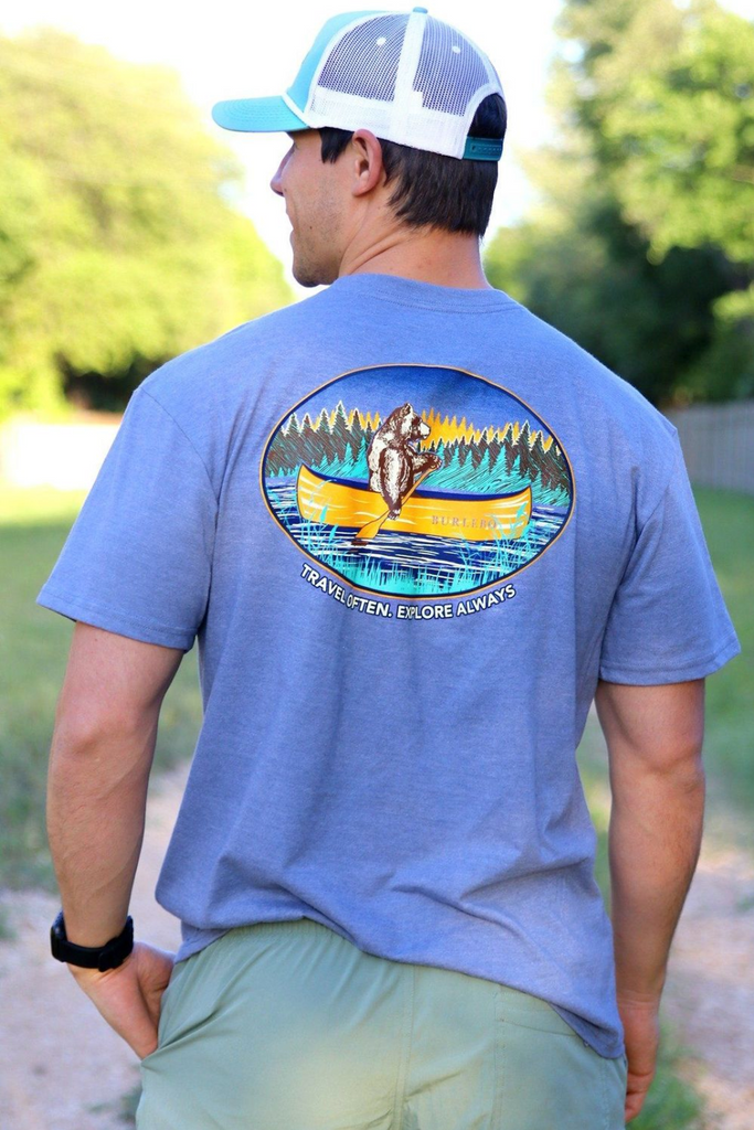 Travel Often, Explore Always Pocket Tee - Blue Jean