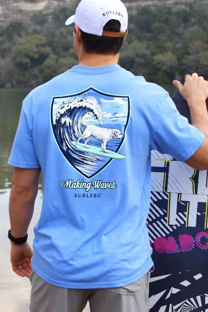 Making Waves Pocket Tee - Heather Flo Blue