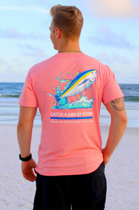 Catch a Great Story Pocket Tee - Heather Coral