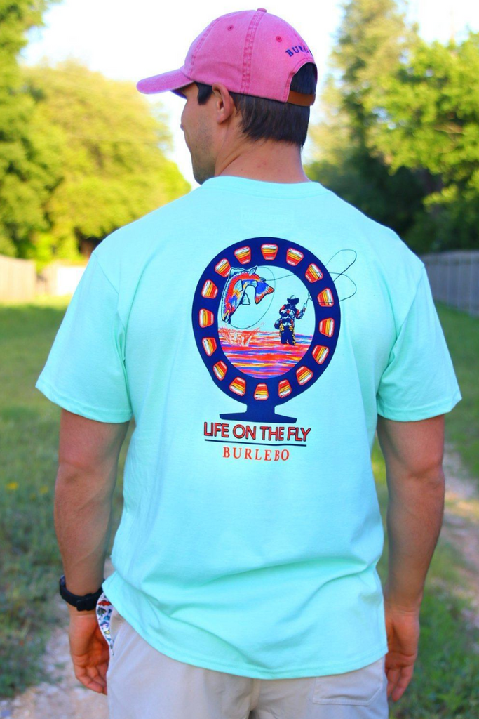 Life on the Fly Pocket Tee - Heather Island Reef