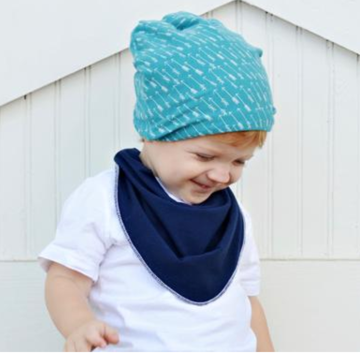 Slouchy Beanies - Navy Floral
