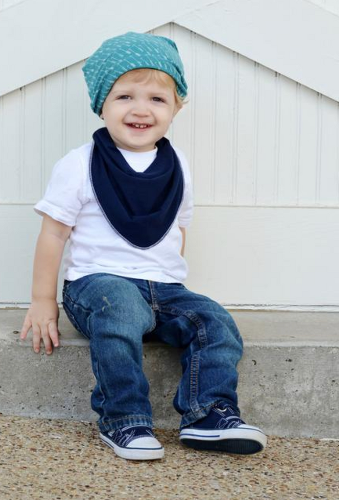 Slouchy Beanies - Navy & Green Plaid