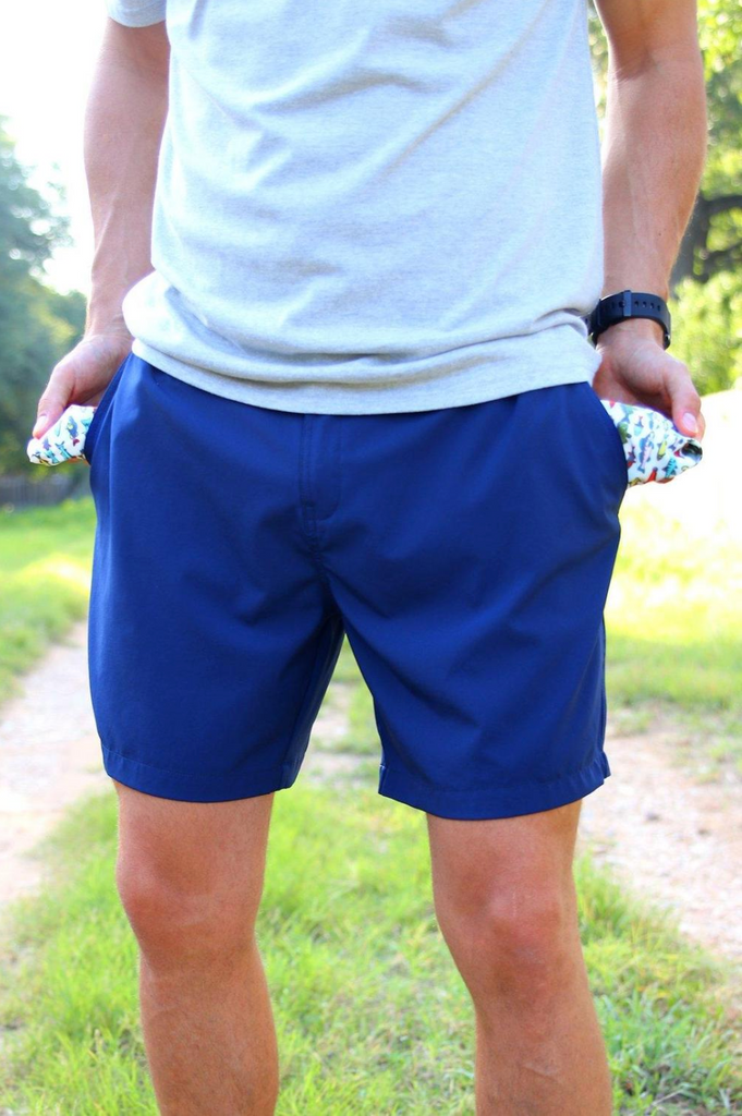Navy Performance Shorts - Fish Pattern