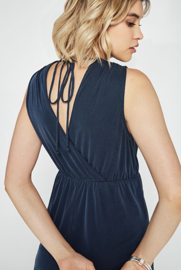 Ribbed Surplice Mini Dress - Navy
