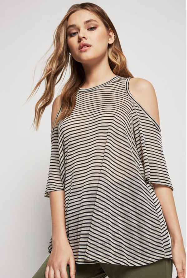 Striped Cold-Shoulder Top - Black/White