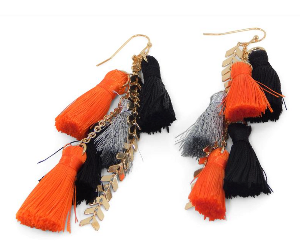 Game Day Tassel Earring - Orange