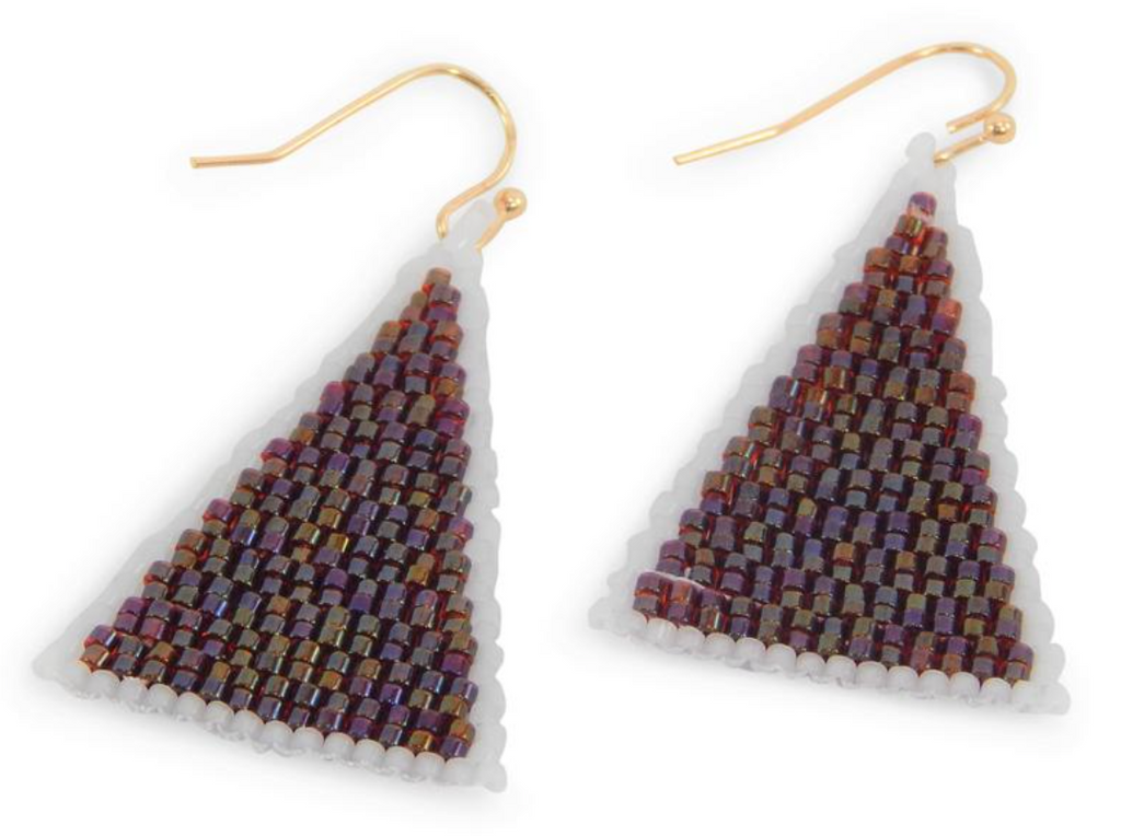 Game Day Beaded Triangle Earrings - Crimson