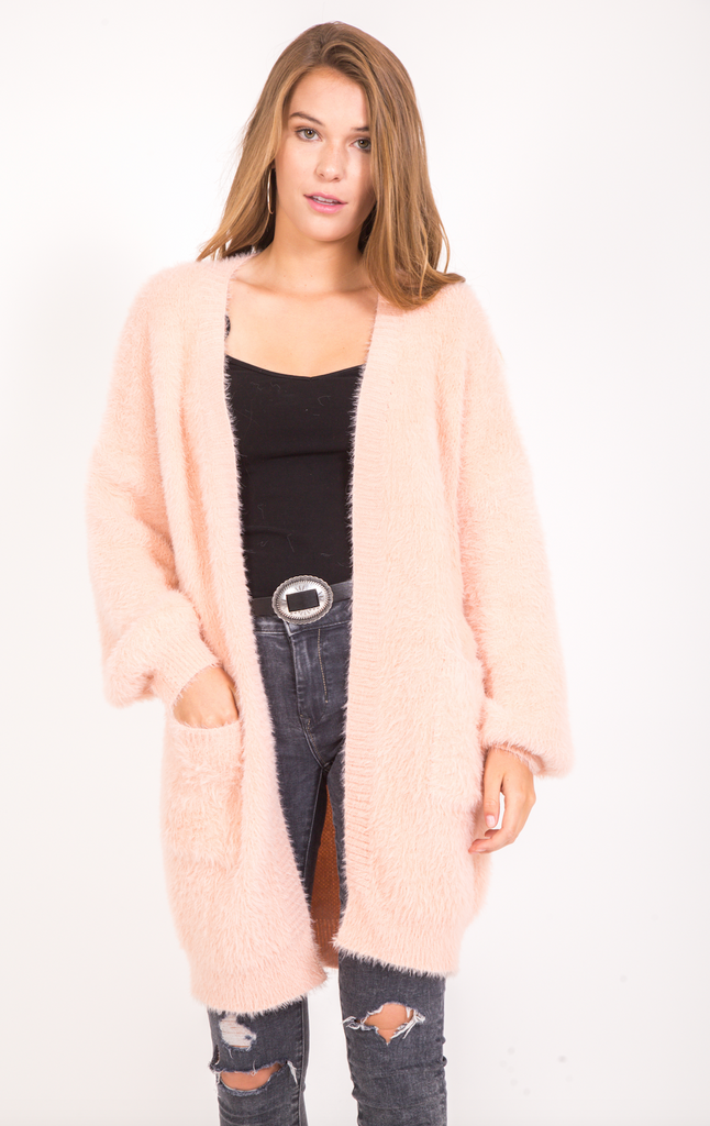 Fuzzy Long Cardigan - Blush
