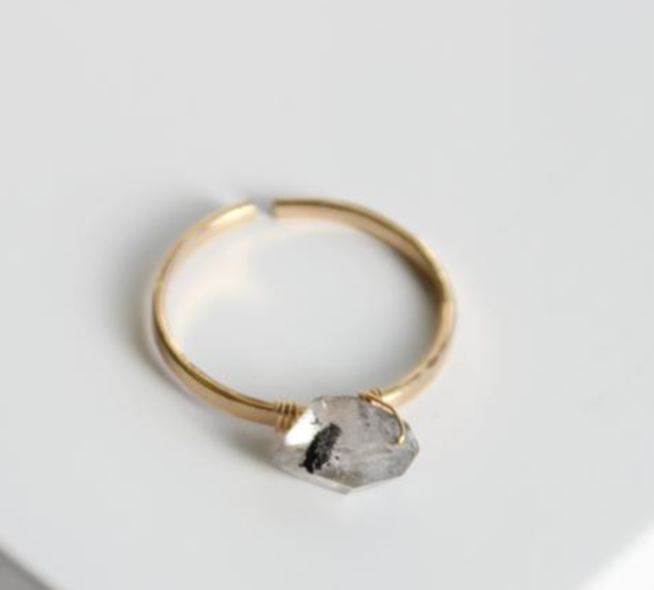 Find Ring with Grey Herkimer Diamond