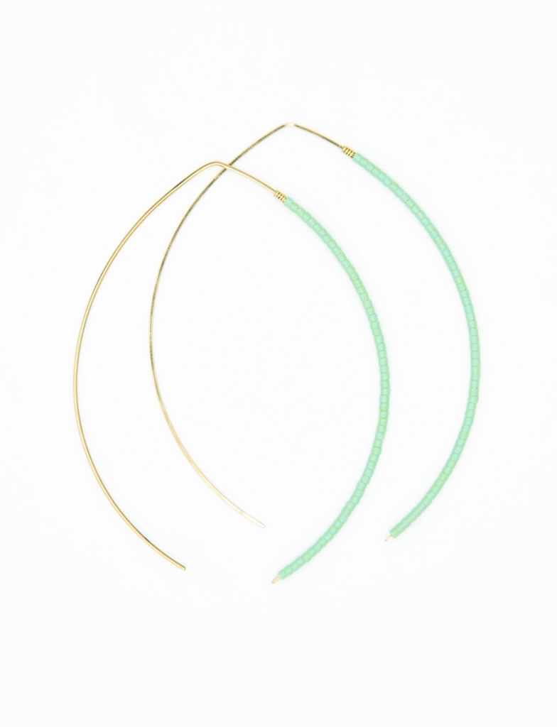 Johnnie Wishbone Large Chrysophase Hoop - 14k Gold