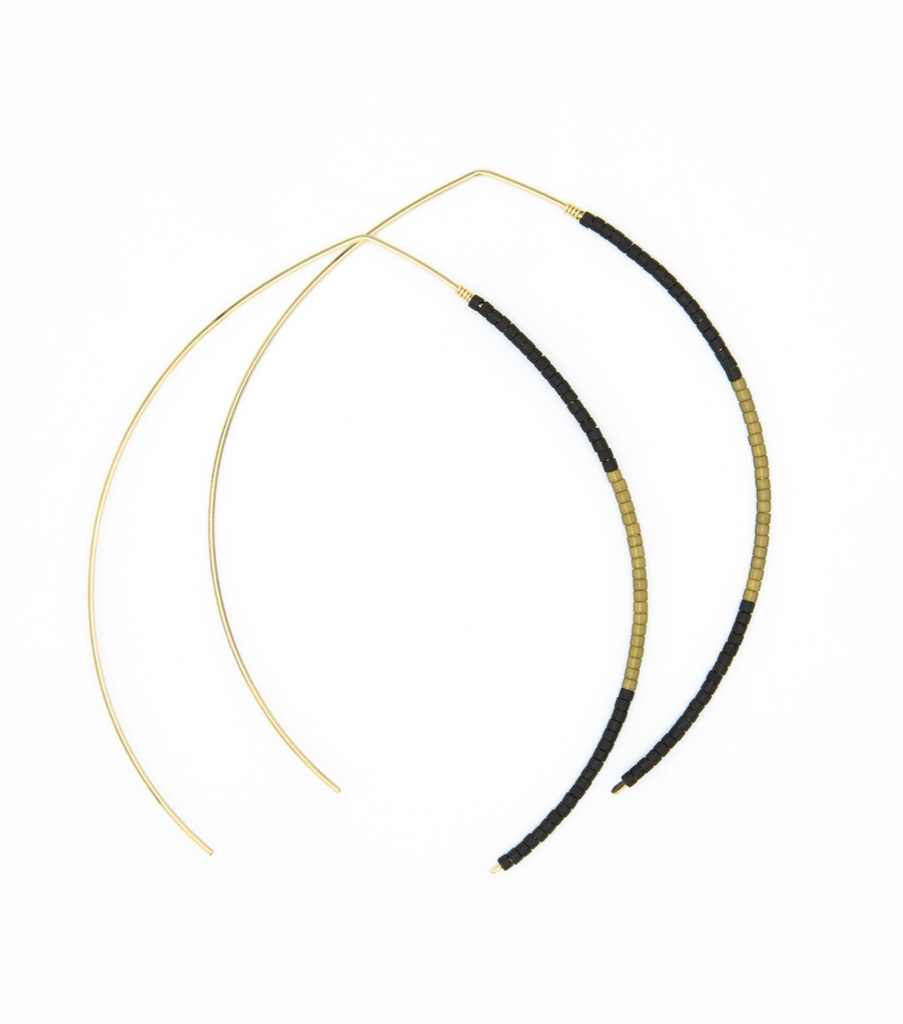 Johnnie Wishbone Large Basalt Hoop - 14k Gold