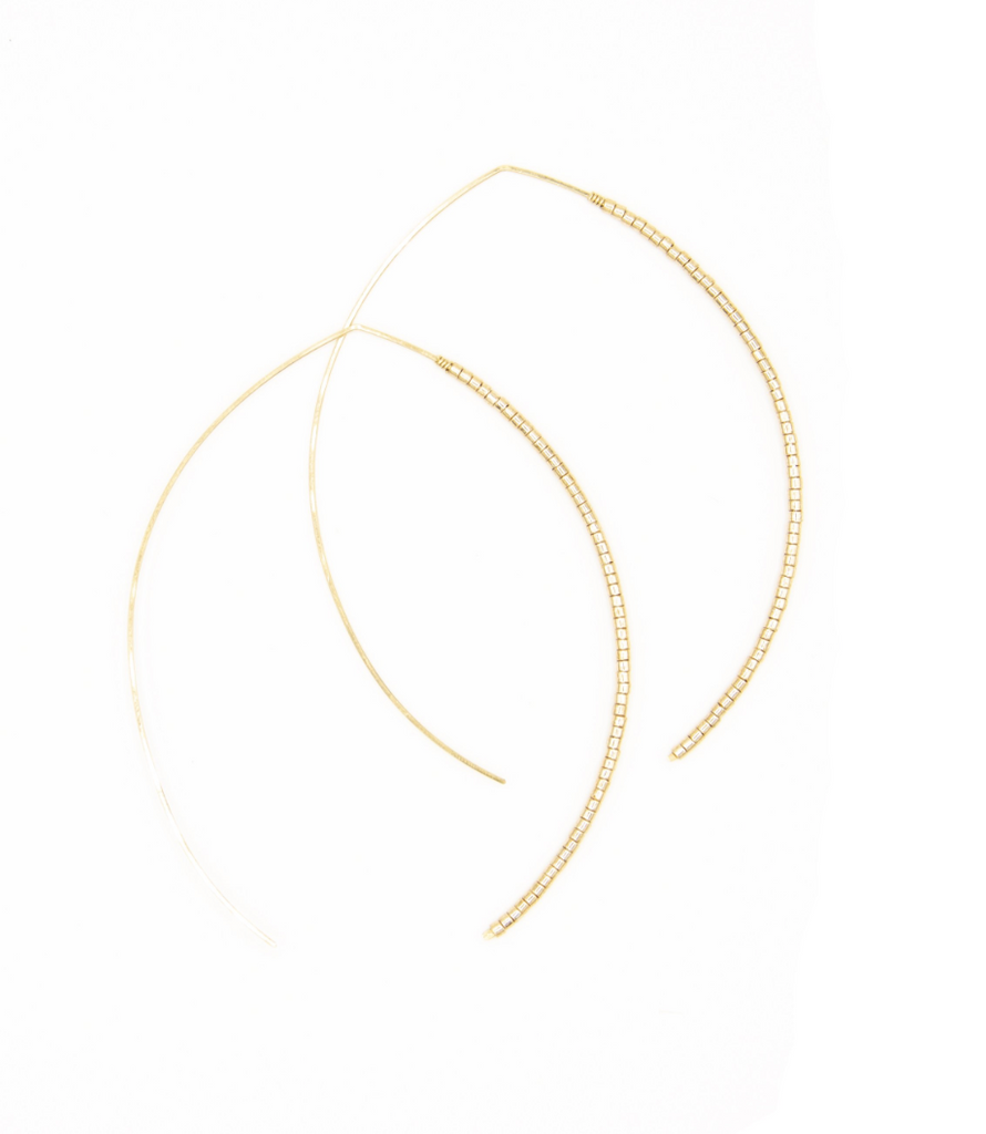 Johnnie Micro Beaded Large Wishbone Hoop - 14k Gold