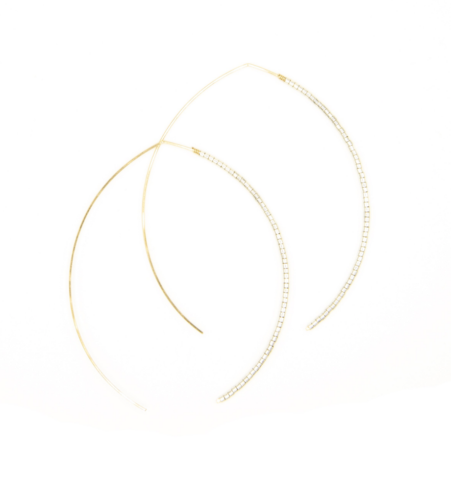 Johnnie Micro Beaded Large 14k Wishbone Hoop - Platinum