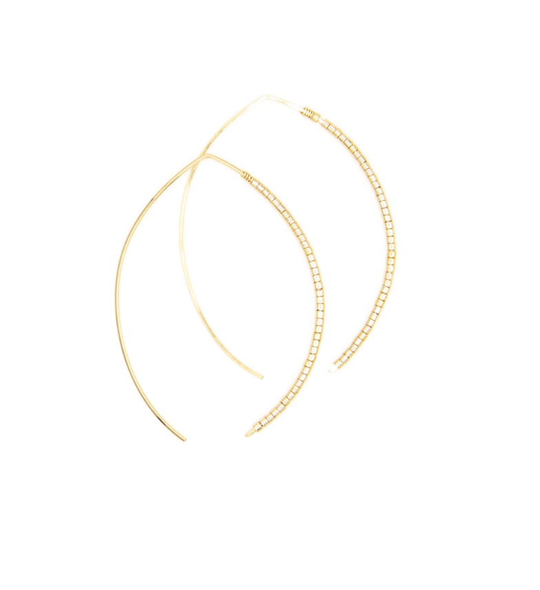 Small Johnnie Micro Gilt Beaded Hoop - 14k Gold
