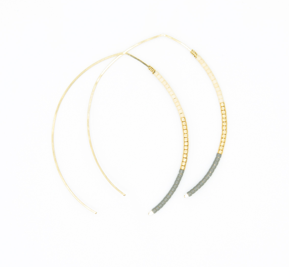 Small Johnnie Wishbone Mineral Hoop - 14k Gold