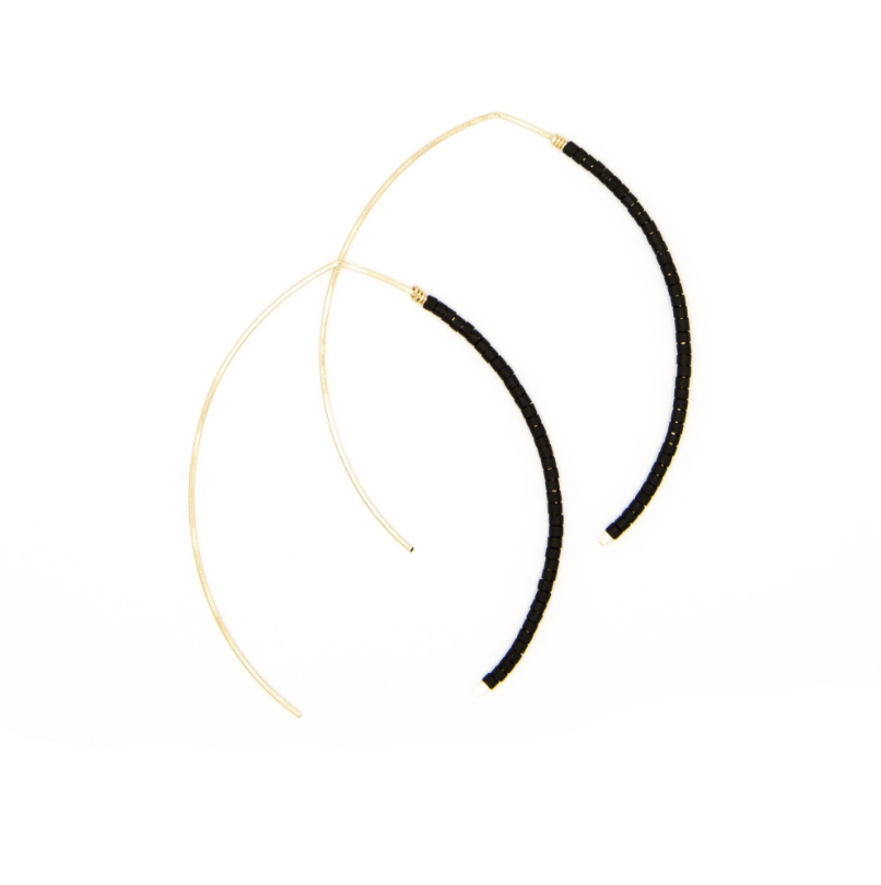 Small Johnnie Micro Beaded Matte Black Hoop - 14k Gold