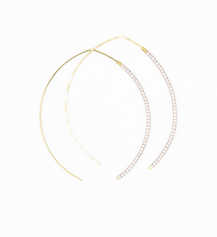 Small Johnnie Wishbone Rosa Hoop - 14k Gold