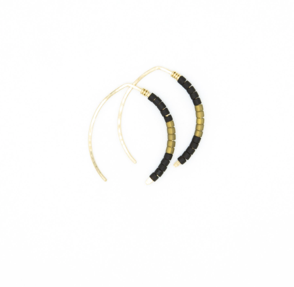 Mini Johnnie Wishbone Basalt Hoop - 14k Gold