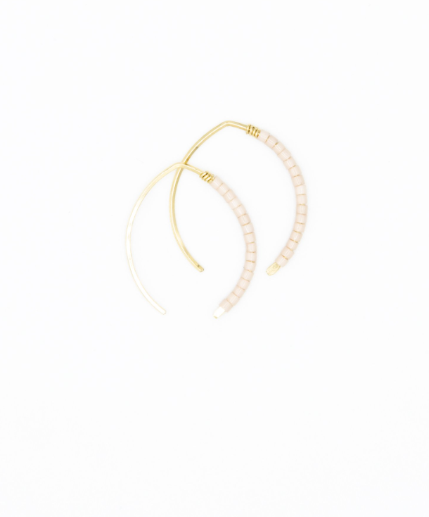 Mini Johnnie Wishbone Mauve Hoop - 14k Gold
