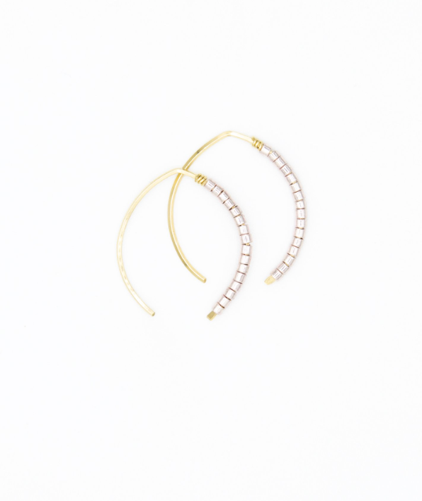 Mini Johnnie Wishbone Rosa Hoop - 14k Gold