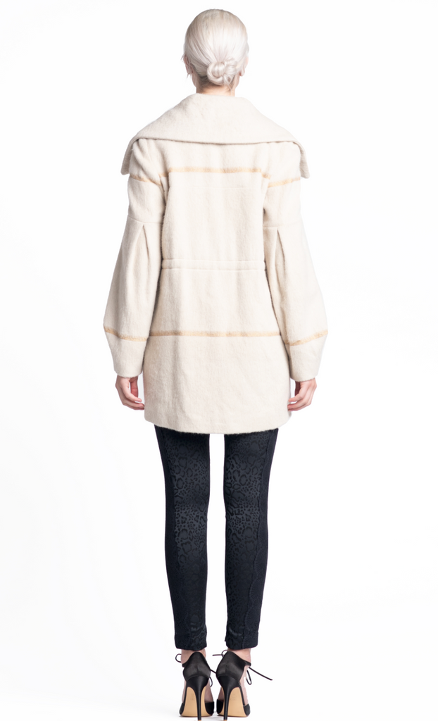 Lada Coat - Ivory w/ Gold Stripe