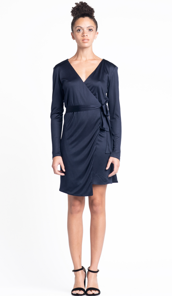 Kira Wrap Dress - Navy