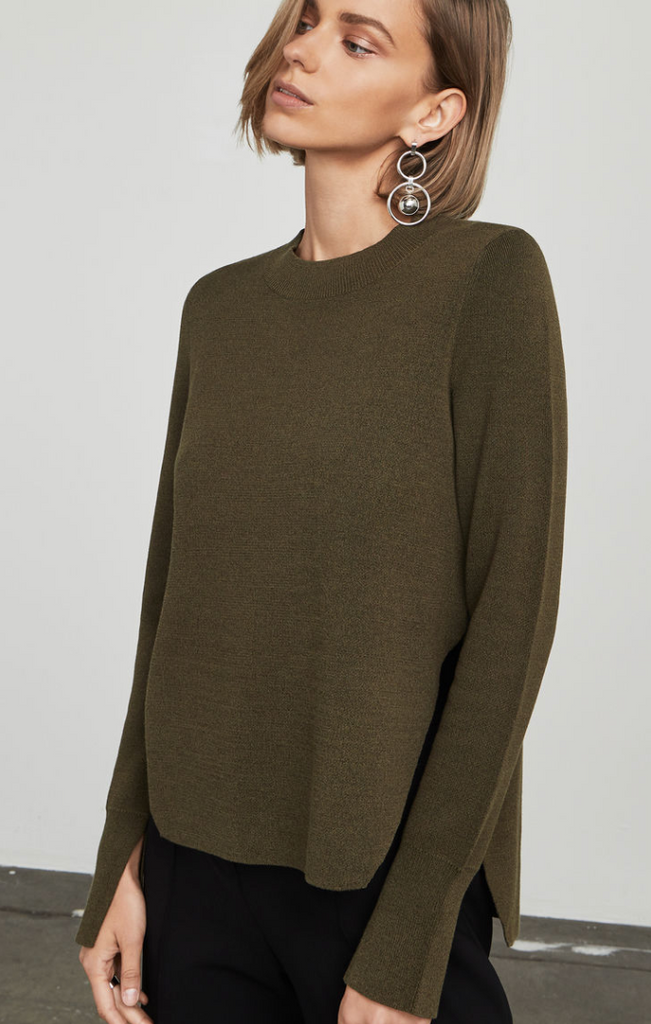 Knit Sweater Top - Olive