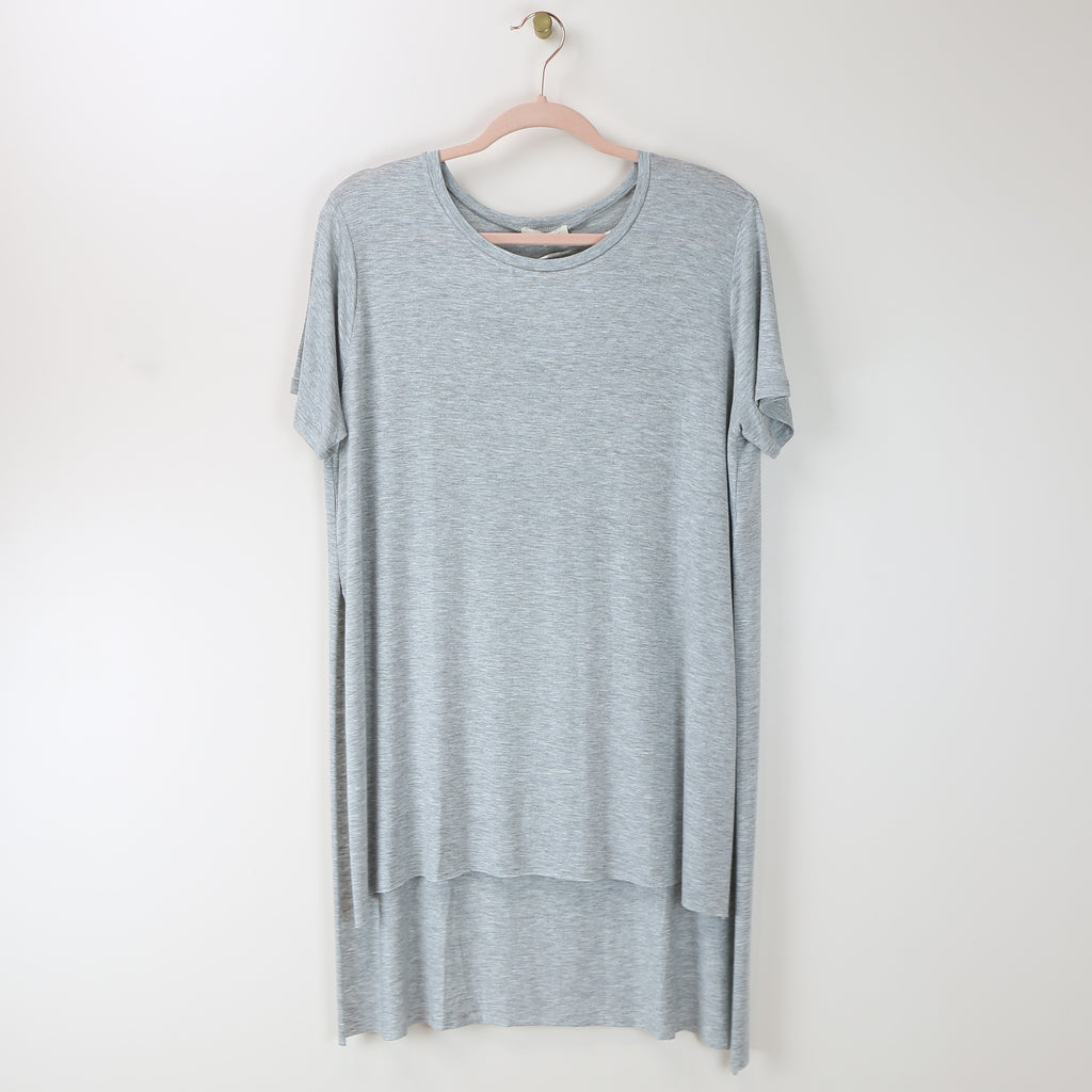 Side Slit Long Boxy Top in Gray - DI