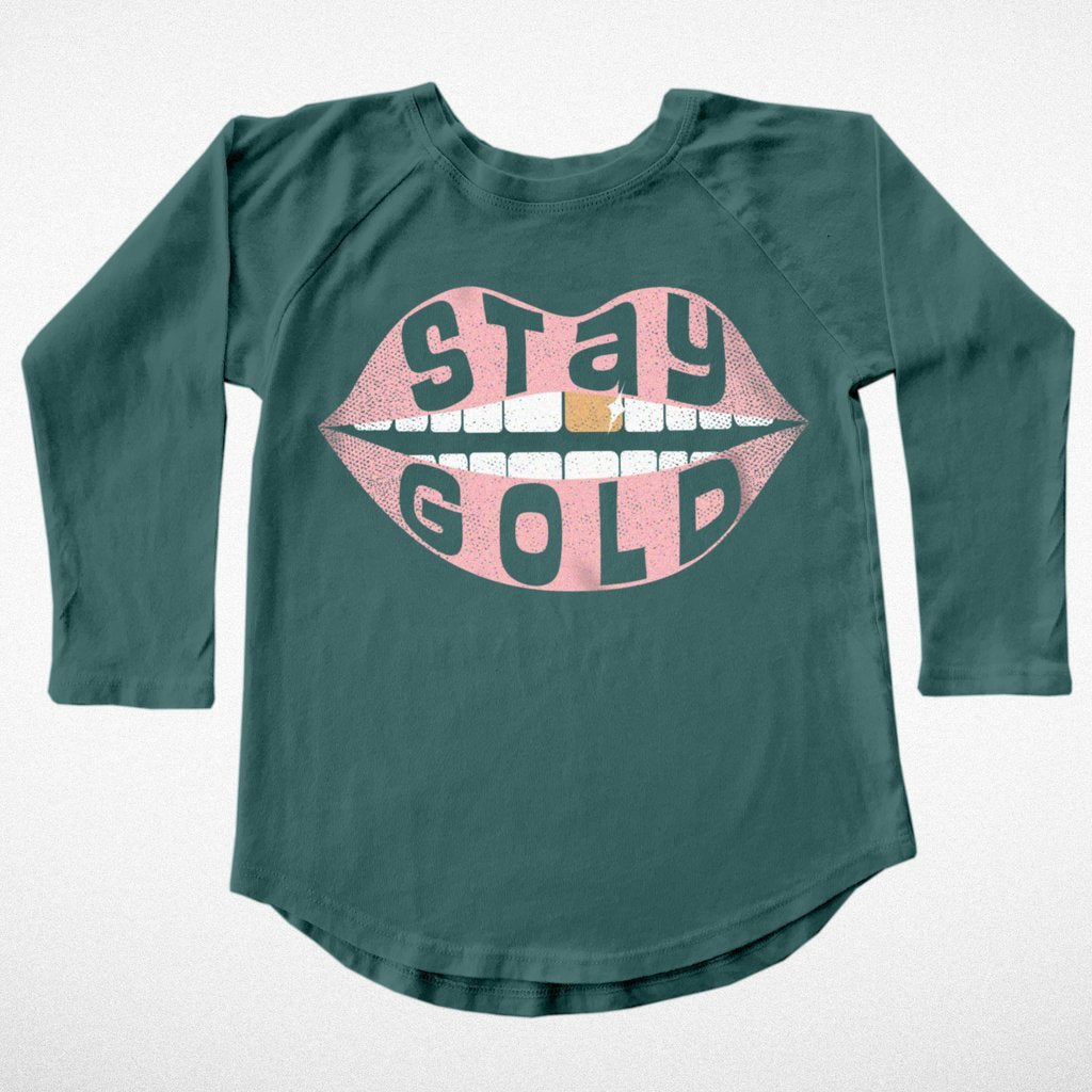 """Stay Gold"" Kid's Raglan - DI"