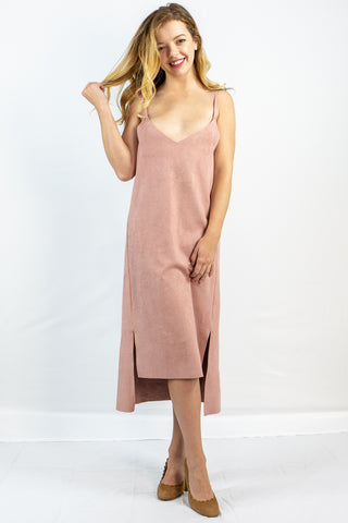 Suede Split Hem Dress