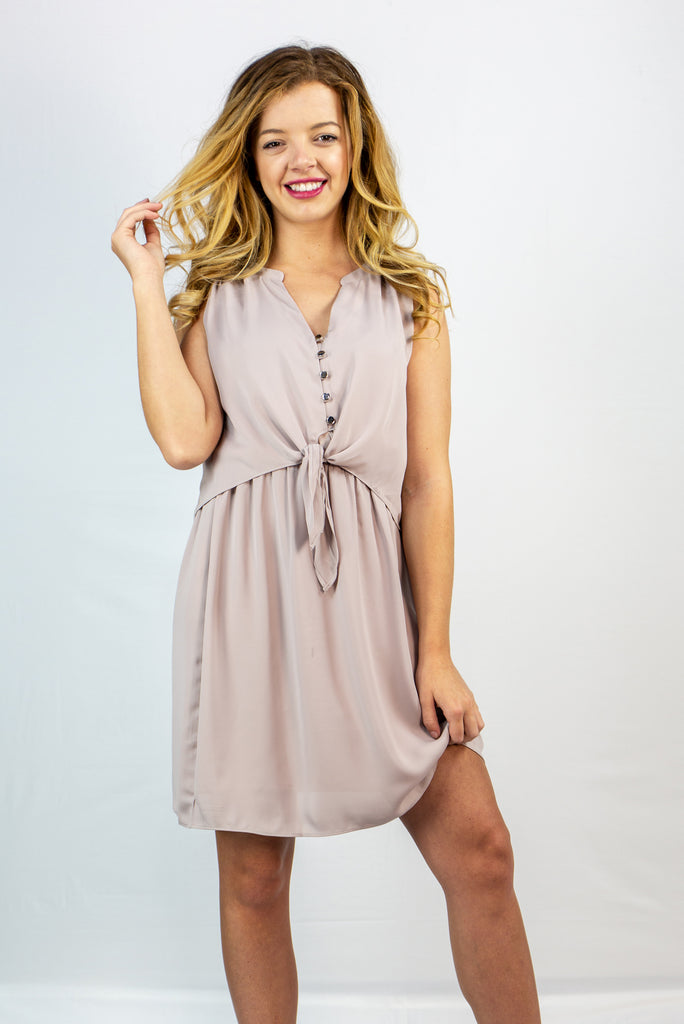 Tie Front Button Dress