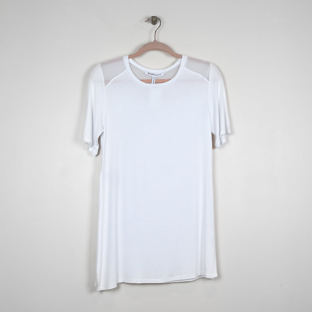 White Crew Neck w/Side Slit - DI