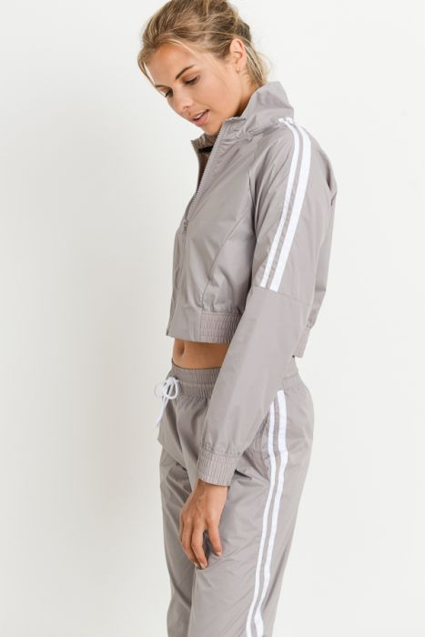 Double Striped Zip-Up Waterproof Crop Jacket