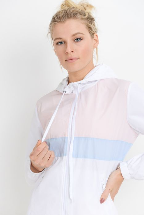 Pastel Popsicle Colorblock Hoodie Nylon Jacket