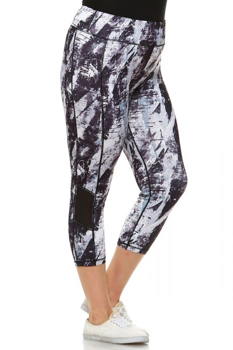 Plus Size Brush Stroke Print Capri Leggings with Slant Mesh Window