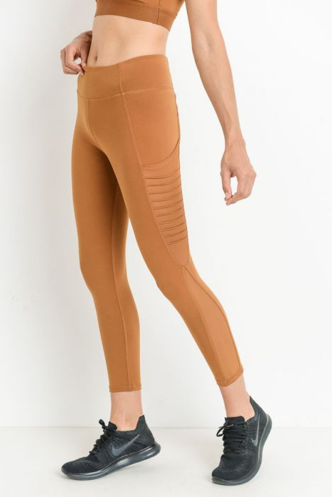 Moto Ribbed Splice Mesh Pocket Full Leggings