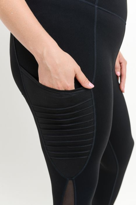 Moto Ribbed Splice Mesh Pocket Full Leggings Plus Size