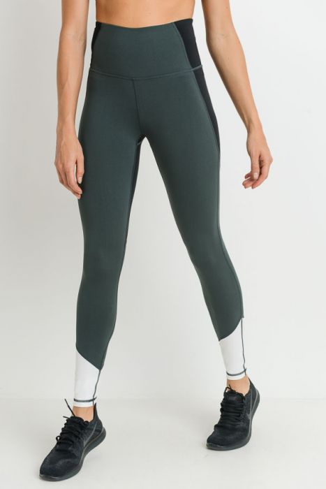 Highwaist Triple Slant Colorblock Full Leggings