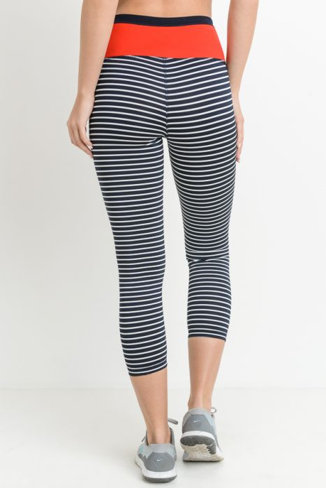Highwait Stripes & Colorblock Capri Legging