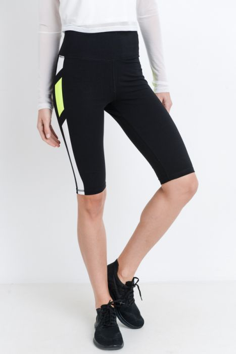Highwaisted Neon Stripes Short Knee-Length Legging