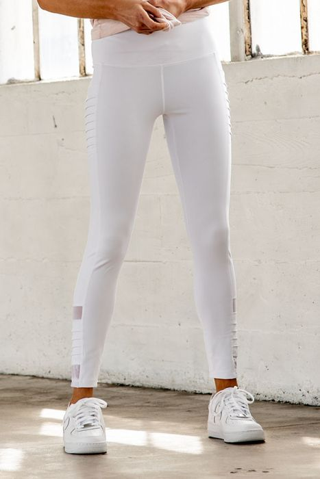 Highwaisted White Moto Ribbed Full Leggings