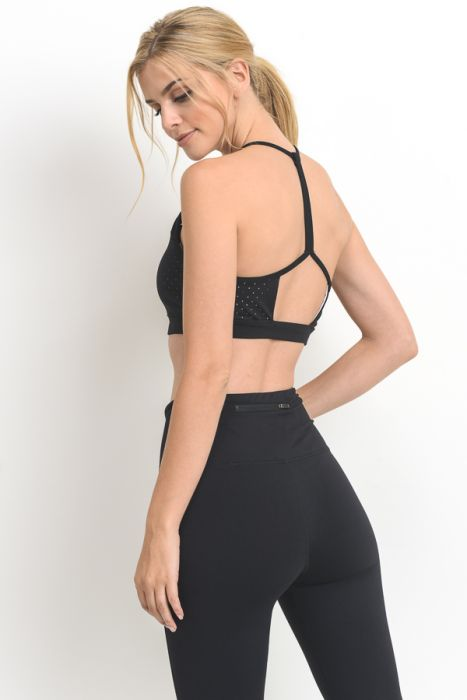 Laser Cut Diamond T-Back Sports Bra