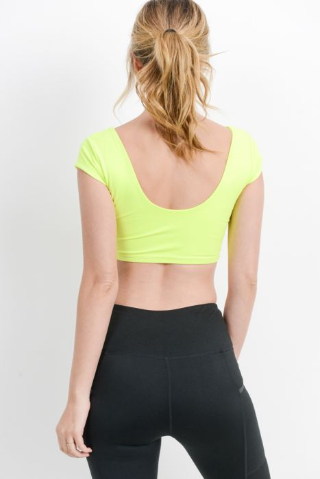 Twist Scoop Neck Crop Top in Neon Yellow