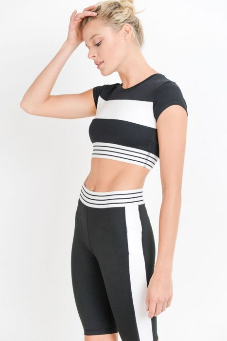 Colorblock Striped Active Crop Top
