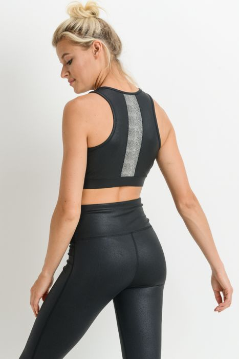 Black Foil Scale Block Sports Bra
