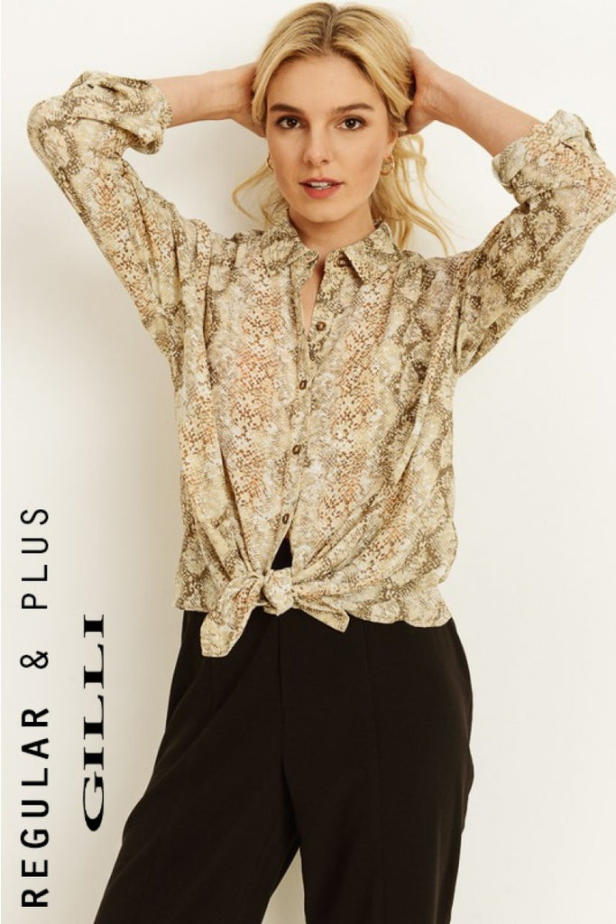Snake Skin Print Button Down Blouse
